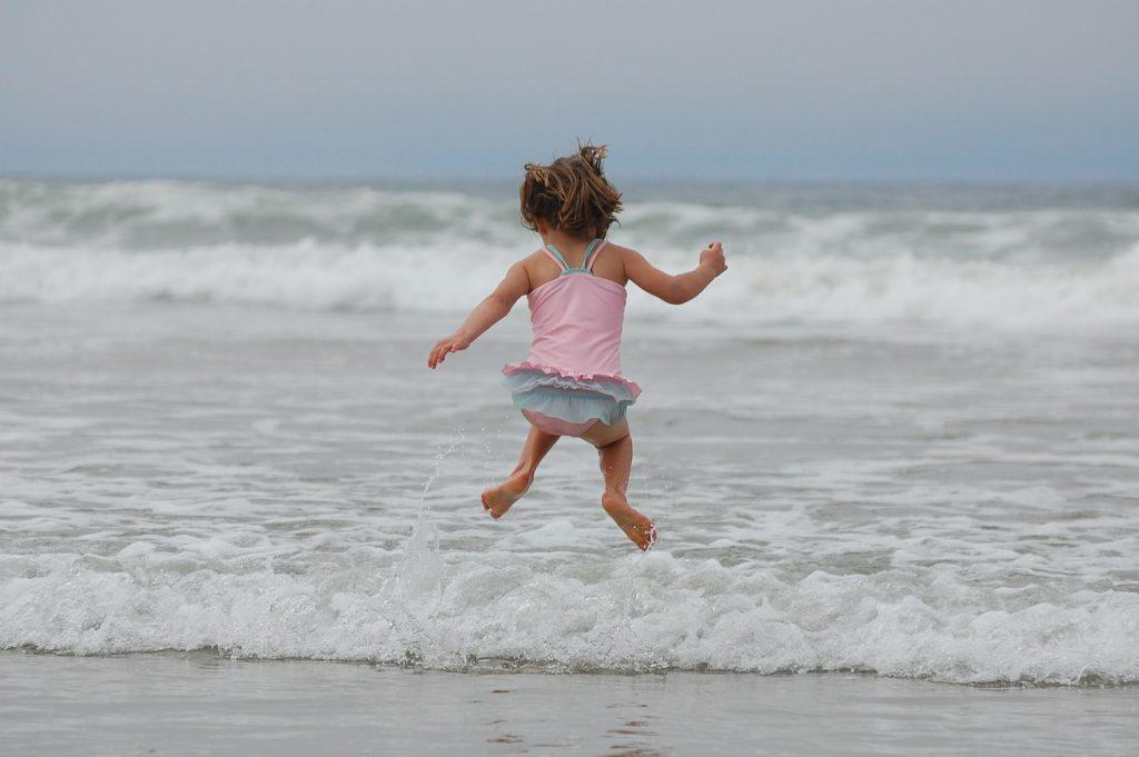 girl, beach, ocean
