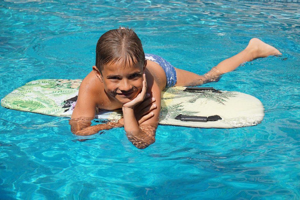 boy, surfboard, water