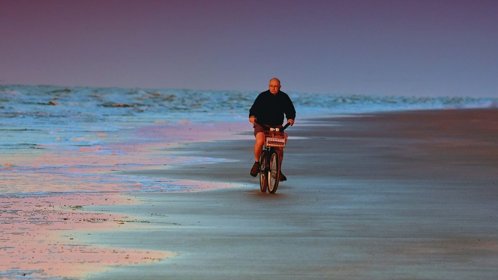cyclist, beach, morning