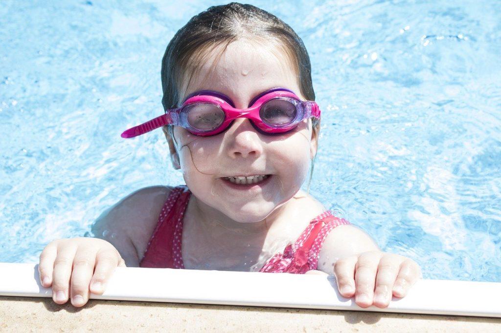 girl, swimming, goggles